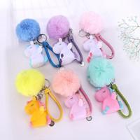 Sfera della pelliccia di Keychain dell'anello chiave di moda in PVC Unicorn decompressione giocattolo portachiavi per il supporto delle ragazze delle donne di chiave dell'automobile di fascino del sacchetto del pendente di chiave Catene da regalo