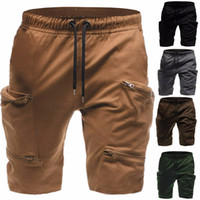 Pantaloncini cargo da uomo multi tasche con cerniera Pantaloni da equitazione da uomo lunghi a maniche corte verde militare kaki M-3XL