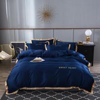Textiles para el hogar Sistemas del lecho el lecho 4pcs adulto Juego de cama blanca Negro Funda Nórdica Rey Queen Size cubierta del edredón Breve Ropa de cama Manta