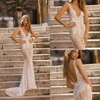 2019 Berta Mermaid Brautkleider V-Ausschnitt Backless Spitze Brautkleider mit Appliqued Princess Beach Brautkleid Plus Größe Vestidos