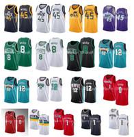 Donovan 45 Mitchell NCAA Damian 0 Lillard Zion 1 Williamson 12 JA Morant 8 Kemba Walker 2020 Yeni Erkek Nakış Koleji Basketbol Formaları