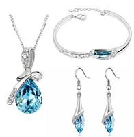 Moda de alta calidad 925 plata ángel elf joyas de diamantes collar de aretes de cristal de circonio conjunto San Valentín día de vacaciones regalos HJ234