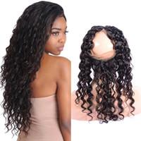 Indian Virgin Hair 360 encaje frontal onda profunda banda ajustable una pieza 360 Frontal del cordón con el pelo del bebé Plaquemado 10-24 pulgadas