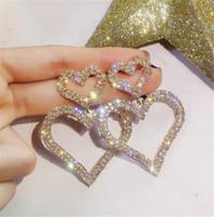 Dominiert übertrieben Mode Kristall Doppel Herz Ohrringe Vertraglich Joker Lange Frauen Ohrringe Schmuck Weihnachtsgeschenk T433