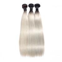 My queen peruviano dritto capelli umani tessitura ombre colore grigio grigio argento 100% estensioni di tessitura dei capelli umani remy 1 pz