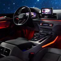 ترقية الداخلية الصمام الزخرفية جو ضوء لوحة الباب ديكور تريم سيارة ضوء المحيطة ل أودي A3 A4L A6L A5 Q2L Q3 Q5 Q7