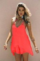 Kadınlar Şeker Renk Plaj şifon Elbise Spagetti Askı Seksi Yaz Günlük Elbiseler