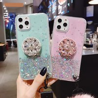 Glitter bling Case pour iPhone 11 Pro Max 11 Pro 11 XS XR X XS Max 8 7 6 6s Case Plus mince couverture avec support Stand Case Socket
