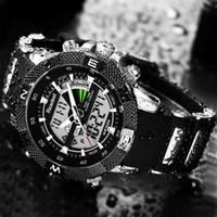 Esporte SUPERIOR Relógios Homens Led Waterproof Exército Digital Analog de quartzo relógio de pulso Homem Relogio Masculino
