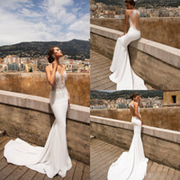 Sexy Berta Mermaid Wedding Dresses Sheer Jewel Neck Lace App...