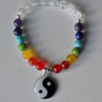 SN0322 Yin Yang Bracciale Genuine 7 Chakra Buddha Yoga Feng Shui Balance Meditazione mala del polso di preghiera borda il braccialetto Ricchezza