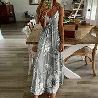 Donne lungo Boho poliestere Dress caviglia-lunghezza maniche Floral Summer Beach Boemia del cocktail di sera del partito Vestito estivo