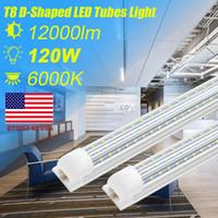 tubo llevado Cnsunway 4 8Ft 120w luces en forma de V de las luces de doble hilera Integración LED t8 Cold 320 grados bombillas ángulo de haz