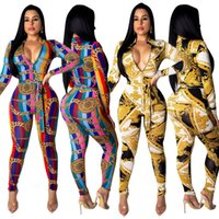HISIMPLE women chain print zipper up with sashes long sleeved bodycon skinny jumpsuit moto biker casual playsuit Long romper Outfit size 2XL