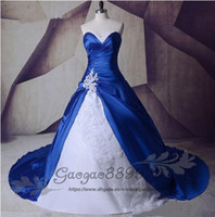Shiny Real Image New White and Royal Blue A Line Wedding Dre...