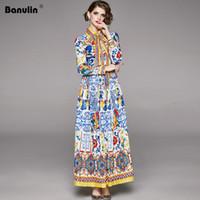 Vestidos Casuais Banulina 2021 Primavera Designer Maxi Vestido Mulheres Manga Comprida Boho Boho Colorido Flor Bow Bow Print Férias Plissadas
