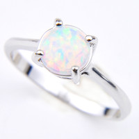 Wholesale Holiday Jewelry Gift Round White Fire Opal Gems 925 Sterling Silver Fashion Woman Solitaire Ring US Size 7-8