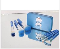 NEW 7pcs / set trucco Doraemon Pennelli Super Kawaii maniglia blu Cosmetici Brush Set Kit con Metal Box Ferro Brush Foundation Tools