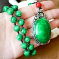 Natural Emerald Jade seco verde Ferro Dragão pingente camisola cadeia Seguro Peaceful prata do embutimento da gota da água Jade Pendant