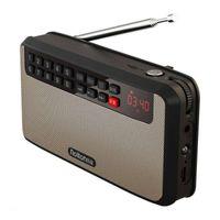 노인 노인 노인을위한 휴대용 FM 라디오 수신기 LED 디스플레이 타임 지원 TF 카드 음악 재생 높은 LED 손전등 라디오 세트