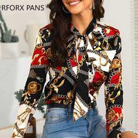 Camisa para mujer del cuello atado cadena de la impresión ocasional de la camisa de manga larga atractiva de tapas de la blusa tamaño asiático S-2XL
