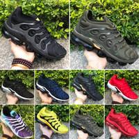 2020 Ucuz 2018 TN Artı Moda Eğitmenler Üçlü Siyah Beyaz Kırmızı Mavi Zeytin Yeşil Erkekler Kadınlar Sport Sneakers Boyut US5.5-11 Koşu Ayakkabıları