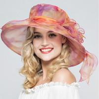 Moda de verano Organza Sombreros para el sol para las mujeres Elegantes Laides Iglesia Vintage Hat Wide Large Brim With Big Flower