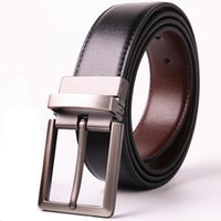 Men' s Dress Belt Leather Reversible Wide Rotated Pin Bu...