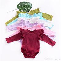8 colori Fall Ins Ins Baby Girls Girls Pagliaccetti Tute Tute Ruffles Colletto rotondo Manica lunga Blank Sottile tessuto di cotone sottile neonato 0-24m