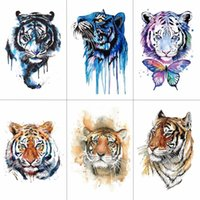 Tiger Temporary Watercolor Tattoo Sticker Waterproof Women Fashion Fake Body Art Arm Tattoos 9.8X6cm Kids Hand Tatoo