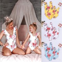 Vieeoease Girls Floral Swimwear One-pieces Swim Kids Clothing 2019 Summer Fashion Print Ruffles Princess traje de baño para mamá y yo CC-468