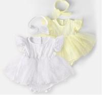 아기 아이 의류 장난 꾸러기 100 %면 여름 목 짧은 소매 단색 디자인 메쉬 패치 워크 투투 스타일 장난 꾸러기 머리띠