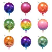 22 polegadas arco-íris balão Gradiente de cor metal partido da bola rugas Bola Balão de alumínio Film 4D Cor Net Red arco-íris Decor SN734