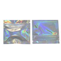 200pcs / lot 7.5 * 6cm Papier d'aluminium Fermeture à glissière vide Top Pack Sacs Laser Zip Lock Sac d'emballage en aluminium Mylar pour poche de stockage d'aliments en vrac