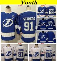 Tampa Bay Lightning 2019 77 Victor Hedman 86 Nikita Kucherov 91 Steven Stamkos Camisetas de hockey Niños niños, niñas, camisas cosidas