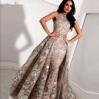긴 회색 샴페인 레이스 인어 하이 넥 아랍 댄스 파티 드레스 탈착 가능한 스커트가있는 Kaftan 두바이 정식 이브닝 가운
