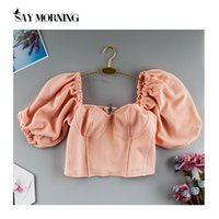 SAY MATTINA Puff Sleeve estate sexy Bassiera Donne Low Cut senza spalline breve Canotta spinge verso l'alto casual Rosa Ruffles Square Collar C