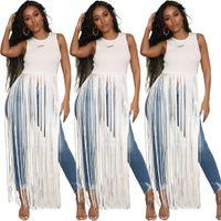 2019 여자 tassels 작물 상판 흰색 민소매 거리 t 셔츠 여름 패션 라운드 칼라 tshirt 여자 캐주얼 티