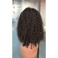 Perulu Bob Dantel Ön Peruk 13x4 Derin Dalga Kinky Kıvırcık 100% İnsan Saç Bob Dantel Ön Peruk 10-18 inç Toptan