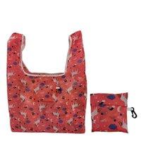 최신 접이식 쇼핑 가방 폴리 에스터 Printted 재사용 에코 친화적 인 어깨 가방 접는 주머니 스토리지 가방 HHA1171