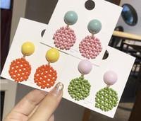 Bohemian Süßigkeiten Farbe Ohrringe und weise runde Blumenkontrastfarbe Ohrringe handgemacht baumelt gelb, grün, orange beige neueste wulstige