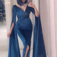 Abiti da sera a sirena elvet 2019 Scollo a V Vestido de festa longo Abito formale musulmano blu scuro Manica drammatica abiti da cerimonia
