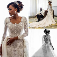 Luxury Crystal Beading Wedding Dresses With Detachable Train Real Picture Scoop Long Sleeve Bridal Gowns Sweep Train Bling Wedding Dress