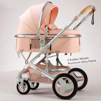 유모차 # Belecoo 경량 럭셔리 아기 유모차 3 휴대용 높은 풍경 가역성 엄마 핑크 여행 유모차