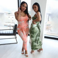 Robe décontractée Teinture Teinture Imprimer Femmes Boho Long Maxi Robe à lacets à lacets haute taille Beach Sundress Sundress Sundress