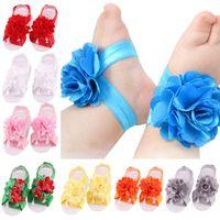 Großhandel Baby Kinder Sandalen Spitze Blume Schuhe Abdeckung Barfuß Krawatten Säuglingsmädchen Kinder Erste Wanderer Schuhe Fotografie Requisiten