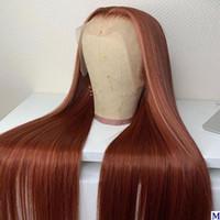 Шелковистые прямые каштановые блондинка скорости 13x6 прозрачного кружева передние парики человеческих волос 150Density бесклеевой шелковый топ полное кружева парики для женщин