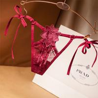 Seksi Açık Kasık G-String Külot İç Kadınlar Seksi Crotchless 3D Dantel Çiçek Thongs İç