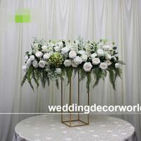 Mais recente (sem flores, incluindo) flor parede cenário de rosa e hortênsia decoração de casamento parede com madeira compensada stand decor318
