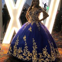 Vintage Royal Blue Lace Quinceanera Prom Dresses Ball Gown Tulle Sweetheart partito di sera Dolce 16 vestito ZJ309
